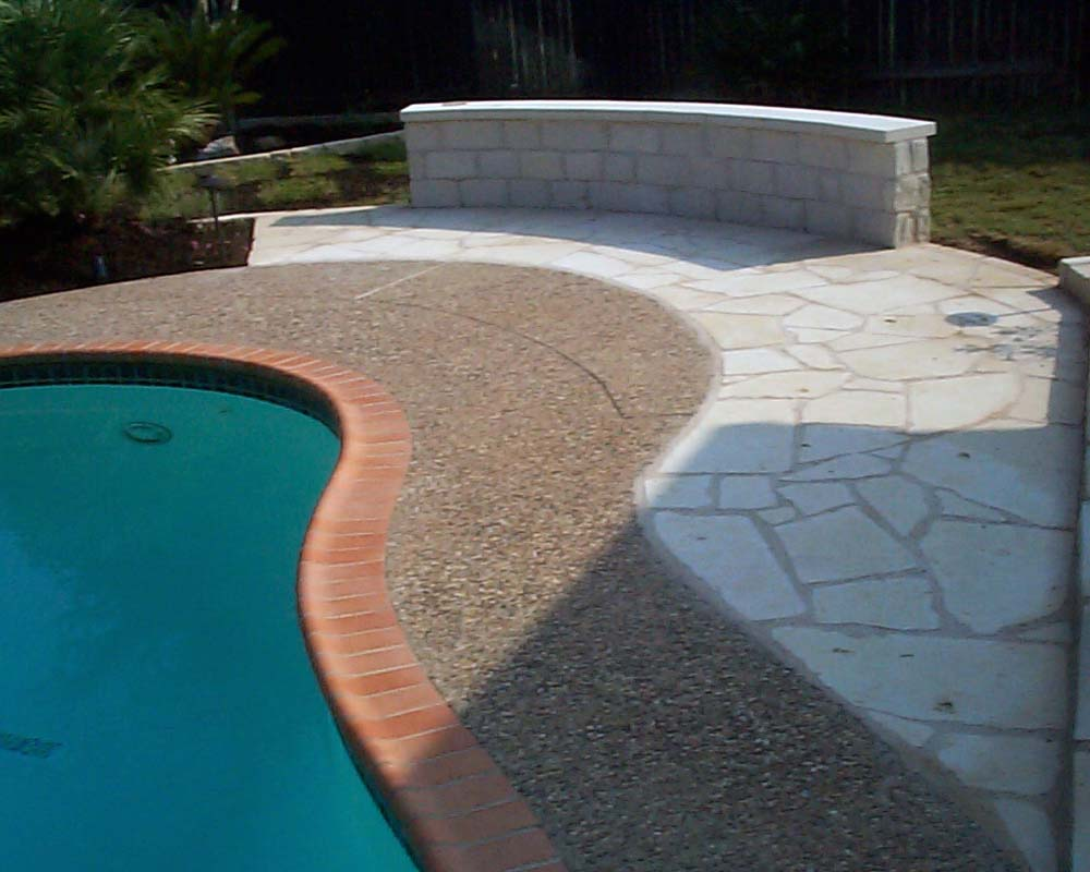 patio wall and pool coping