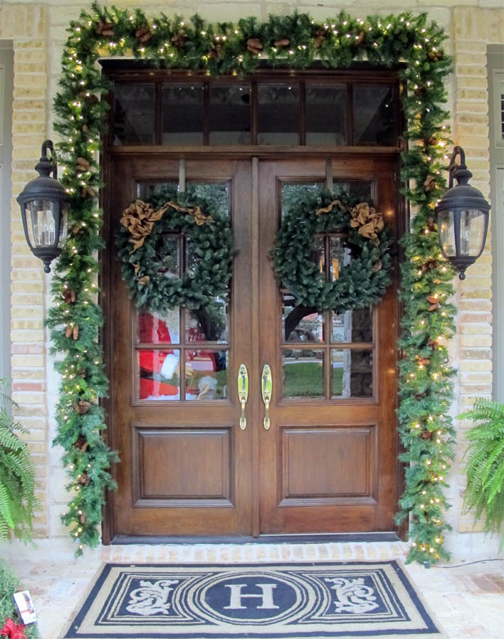 Door Frame Garland & Holiday Wreaths u0026 Garland | Austin Christmas Decor | Plantscape Austin