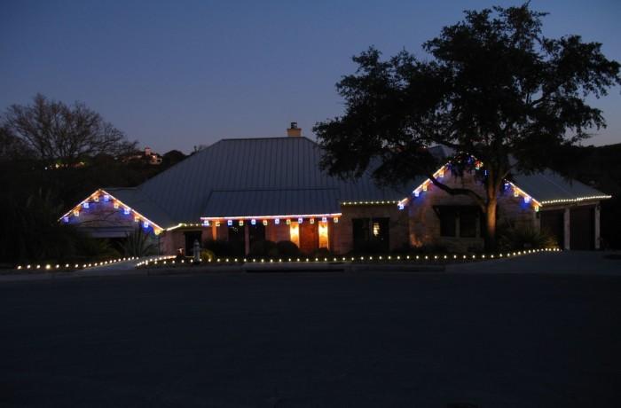 Christmas light installation in Austin