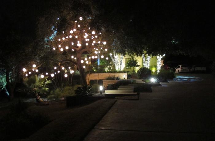 Holiday light installation in Austin