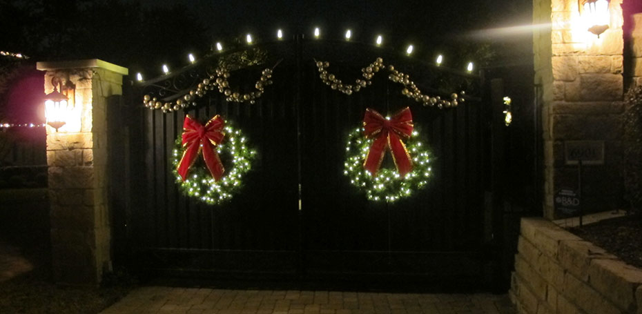 holiday lighting and wreaths