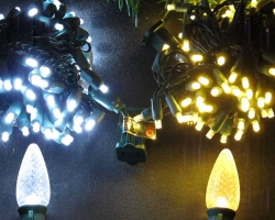 Bright White and Warm White LED Holiday Lights